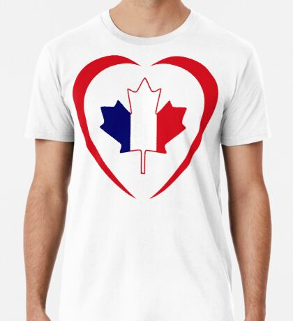 French Canadian Multinational Patriot Flag Series (Heart) Premium T-Shirt