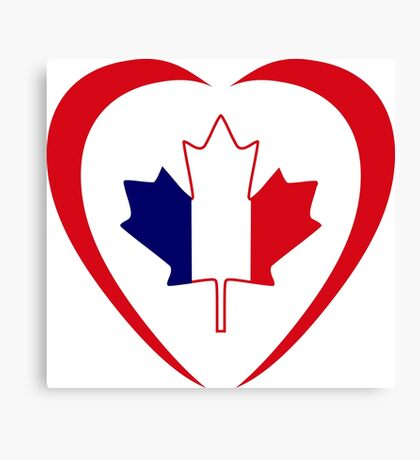 French Canadian Multinational Patriot Flag Series (Heart) Canvas Print