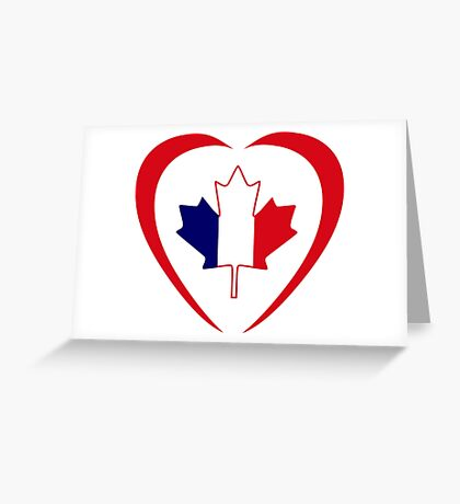 French Canadian Multinational Patriot Flag Series (Heart) Greeting Card