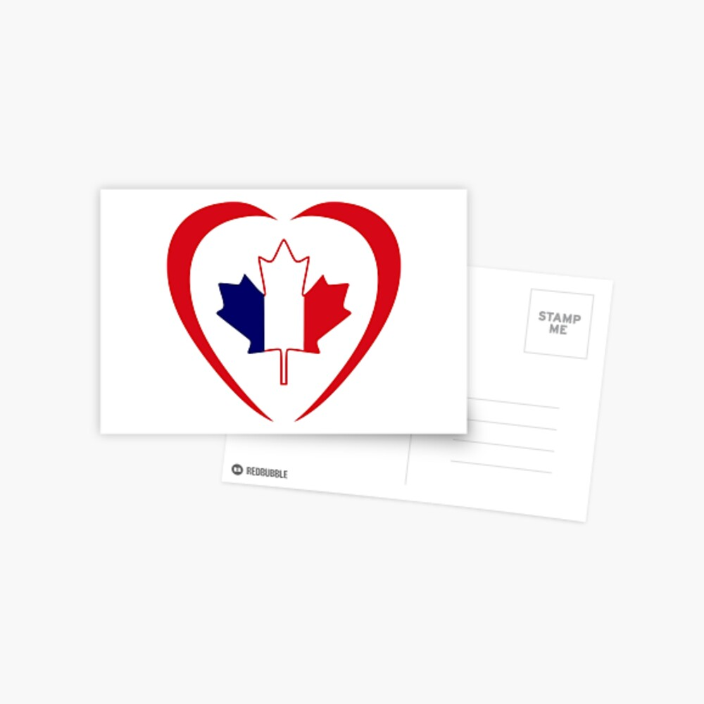French Canadian Multinational Patriot Flag Series (Heart) Postcard