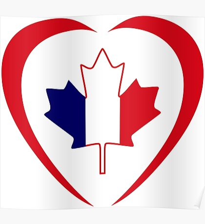 French Canadian Multinational Patriot Flag Series (Heart) Poster