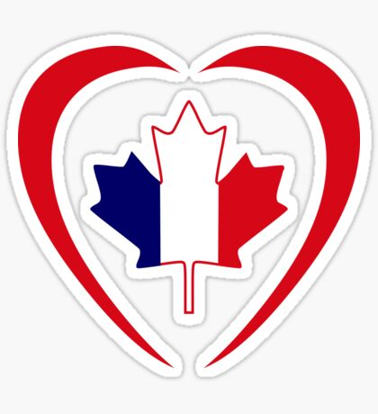 French Canadian Multinational Patriot Flag Series (Heart) Sticker