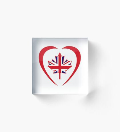 British Canadian Multinational Patriot Flag Series (Heart) Acrylic Block