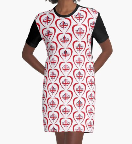 British Canadian Multinational Patriot Flag Series (Heart) Graphic T-Shirt Dress