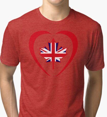 British Canadian Multinational Patriot Flag Series (Heart) Tri-blend T-Shirt