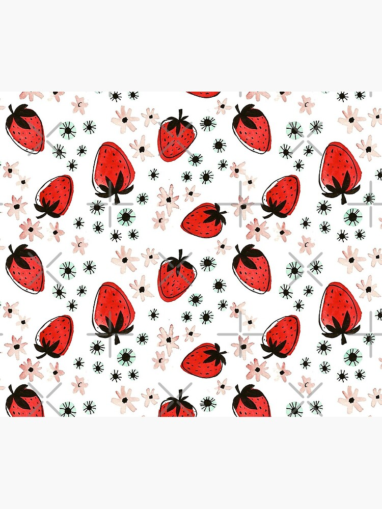 Hand Painted Watercolor Pattern - Strawberry Fields by annieparsons