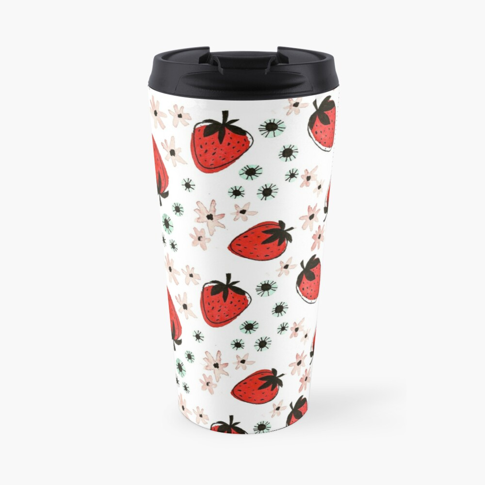 Hand Painted Watercolor Pattern - Strawberry Fields Travel Mug