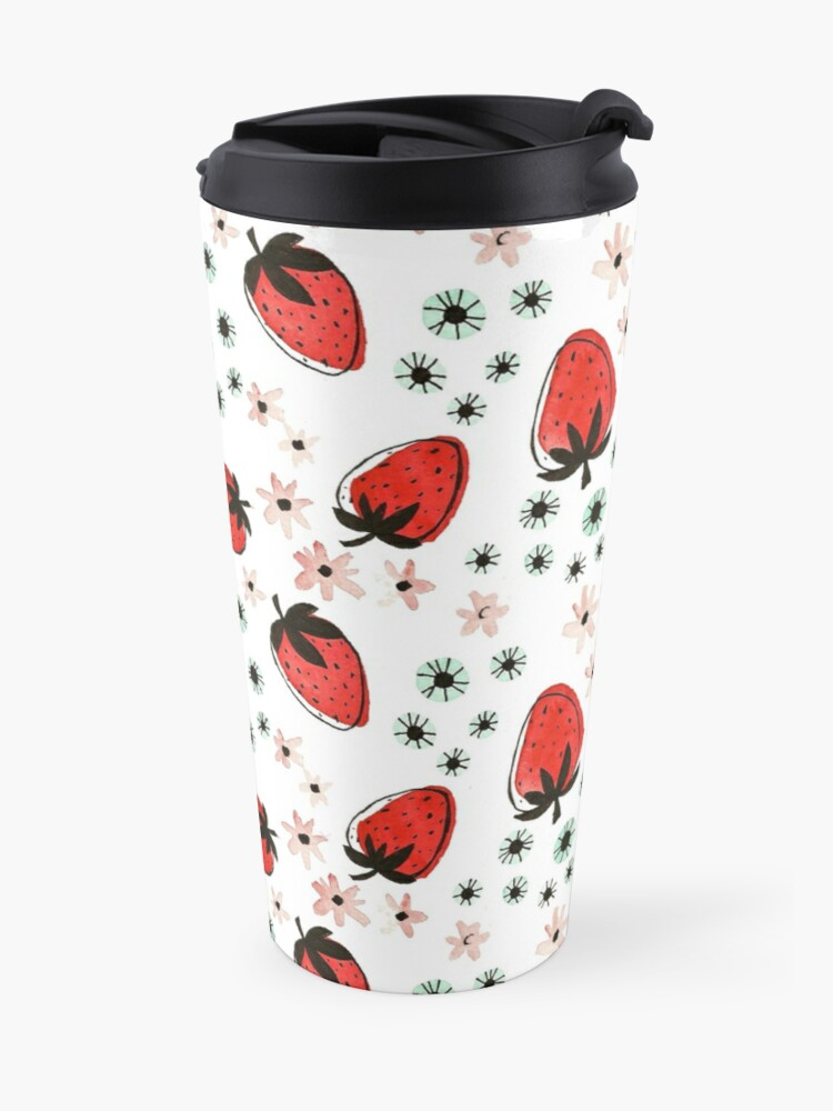 Alternate view of Hand Painted Watercolor Pattern - Strawberry Fields Travel Mug