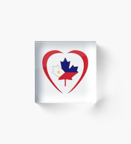 Filipino Canadian Multinational Patriot Flag Series (Heart) Acrylic Block