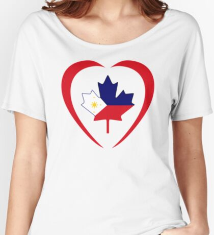 Filipino Canadian Multinational Patriot Flag Series (Heart) Relaxed Fit T-Shirt