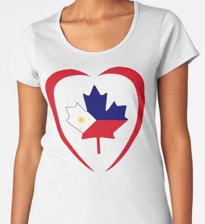 Filipino Canadian Multinational Patriot Flag Series (Heart) Premium Scoop T-Shirt
