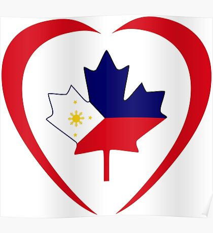 Filipino Canadian Multinational Patriot Flag Series (Heart) Poster