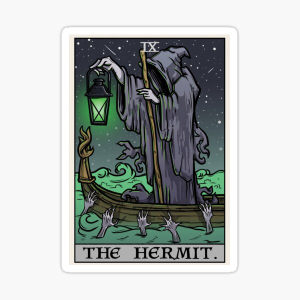 The Hermit Tarot Card Gothic Halloween Psychopomp Grim Reaper Angel of Death Sticker