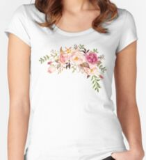 Romantic Watercolor Flower Bouquet Women's Fitted Scoop T-Shirt