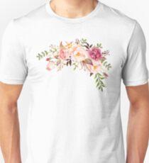 Romantischer Aquarell-Blumen-Blumenstrauß Slim Fit T-Shirt