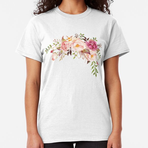 Romantic Watercolor Flower Bouquet Classic T-Shirt