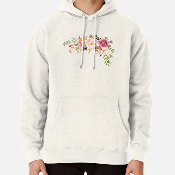 Romantic Watercolor Flower Bouquet Pullover Hoodie