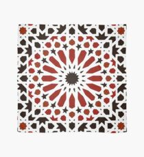 Black and Red Traditional Geometric Moroccan Artwork. Scarf