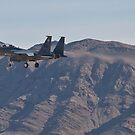 F-15 Strike Eagle against the mountains by Henry Plumley