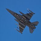 Belly shot of an F-16 Fighting Falcon by Henry Plumley