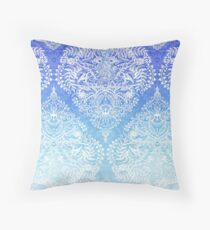 Out of the Blue - White Lace Doodle in Ombre Aqua and Cobalt Throw Pillow