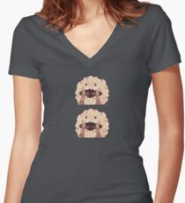 Sleepy Wooloo [B] Fitted V-Neck T-Shirt