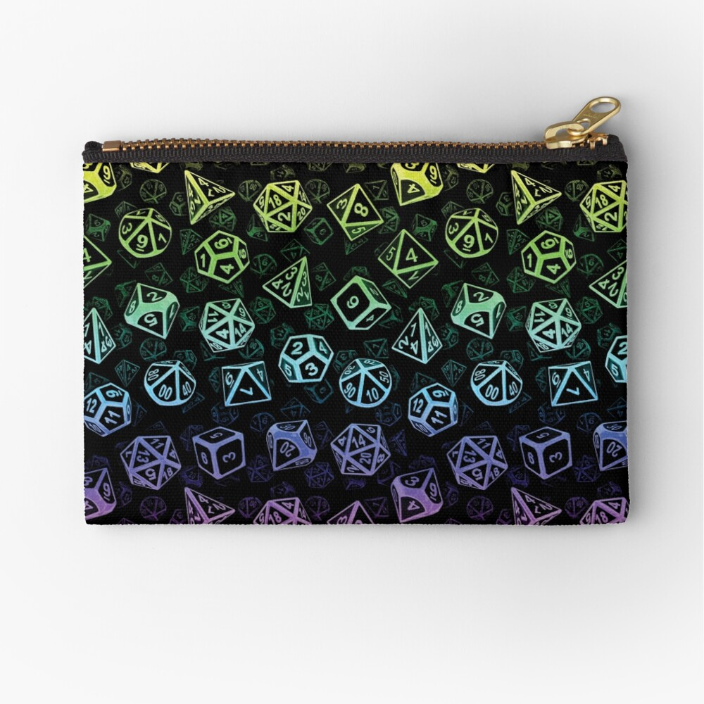 D20 Dice Set Pattern (Rainbow) Zipper Pouch