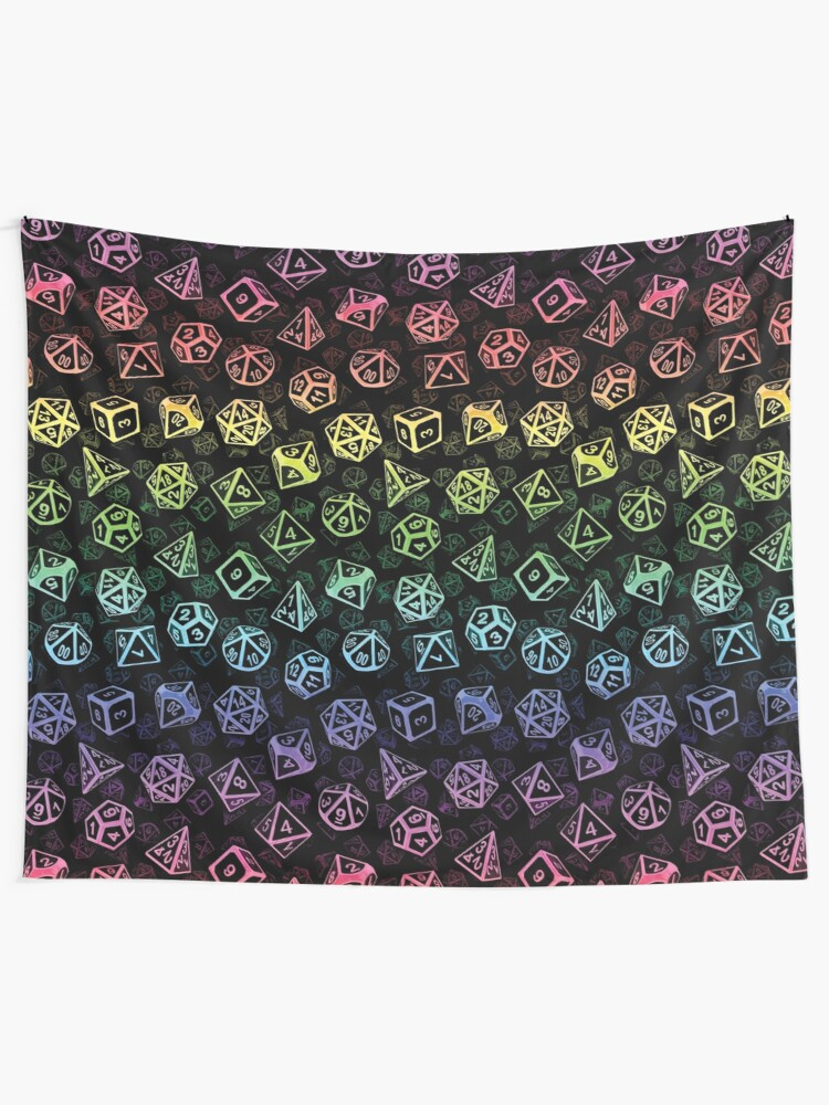 Alternate view of D20 Dice Set Pattern (Rainbow) Tapestry