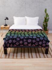 D20 Würfel Set Muster (Regenbogen) Fleecedecke