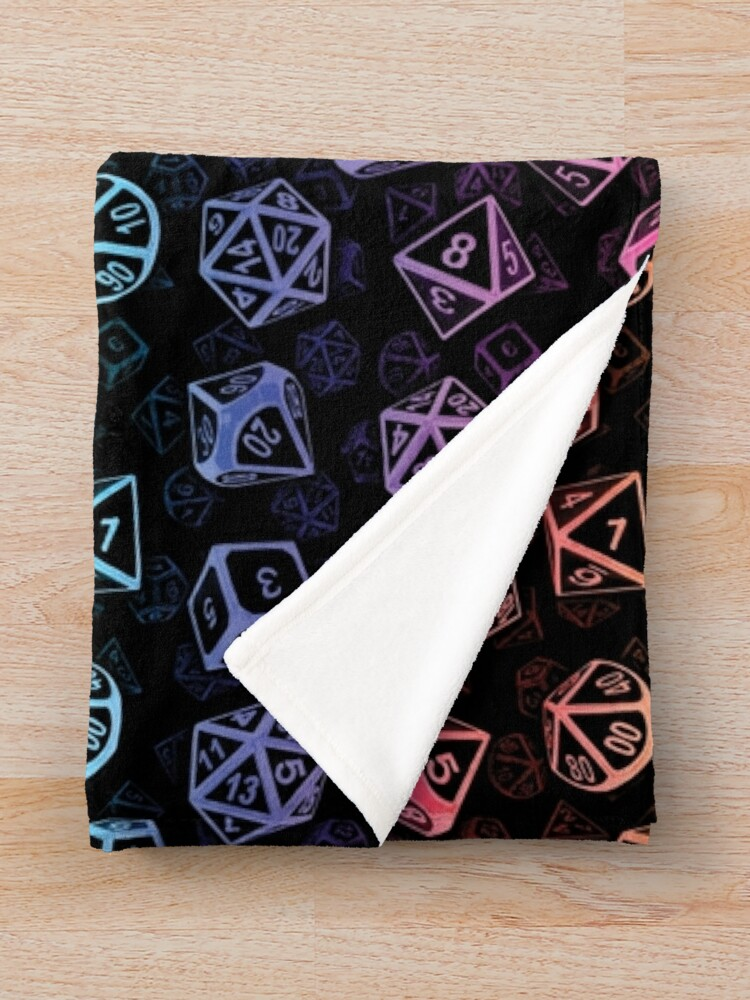 Alternate view of D20 Dice Set Pattern (Rainbow) Throw Blanket