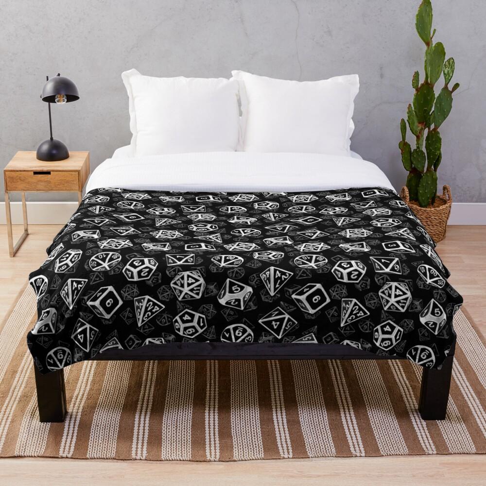 D20 Dice Set Pattern (White) Throw Blanket