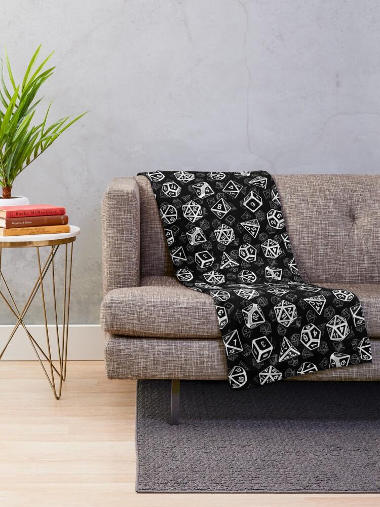 Alternate view of D20 Dice Set Pattern (White) Throw Blanket