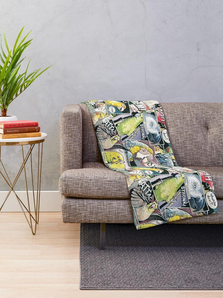 Alternate view of Parrots Comic Style Throw Blanket