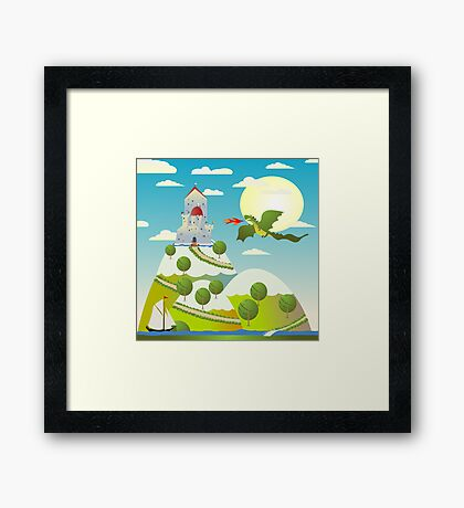 Castle and dragon Framed Print