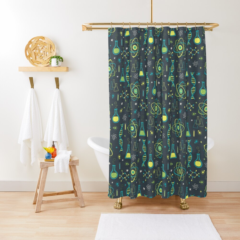 Midcentury Modern Science Shower Curtain