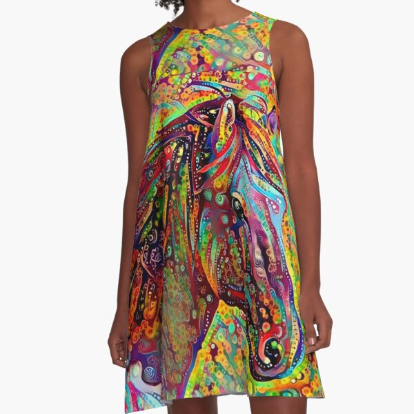 Horse Of Many Colors A-Line Dress