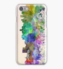 Denver skyline in watercolor background iPhone Case/Skin