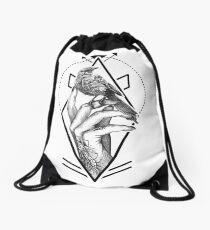 Bird In The Tattooed Hand (White) Drawstring Bag