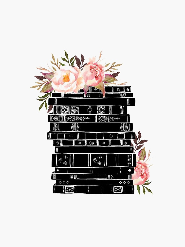 Watercolor flowers and stack of books by SouthPrints