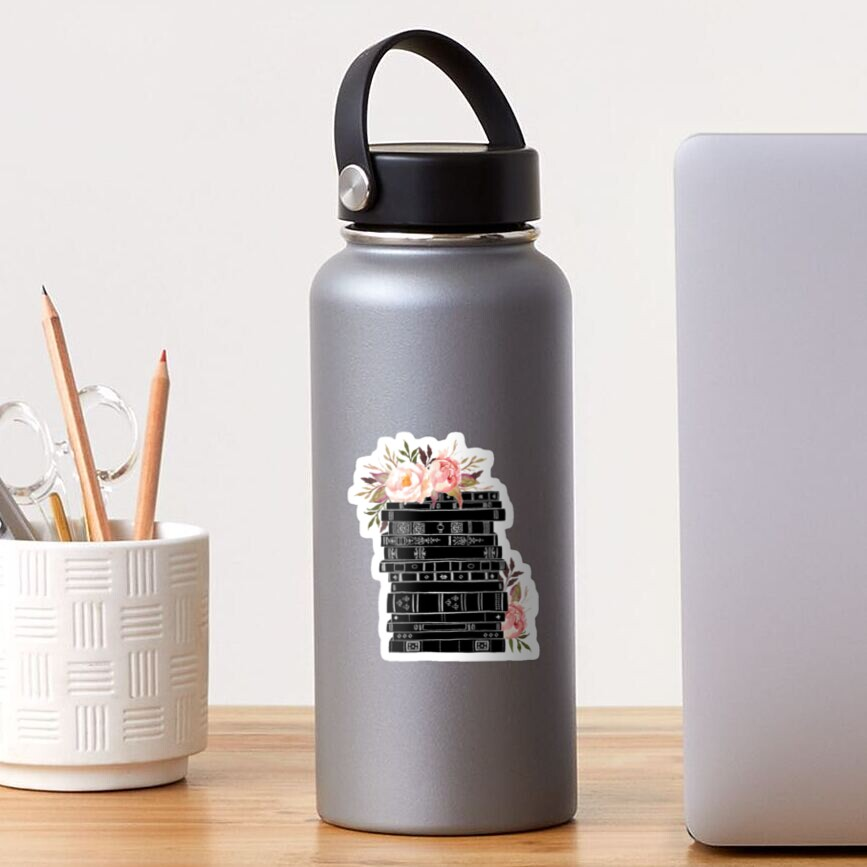 Watercolor flowers and stack of books Sticker