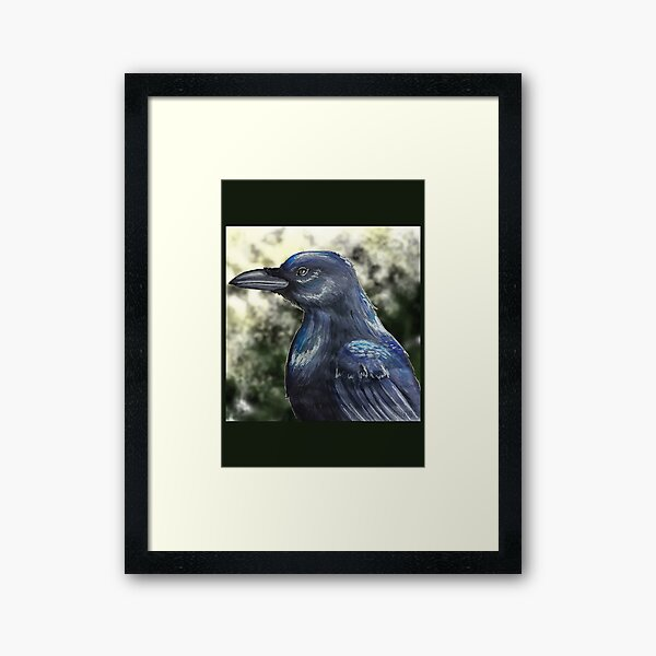 Traditional crow painting Framed Art Print