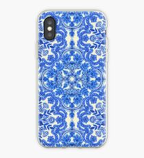 Cobalt Blue & China White Folk Art Pattern iPhone Case