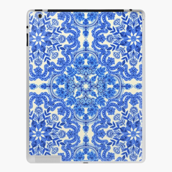 Cobalt Blue & China White Folk Art Pattern iPad Skin