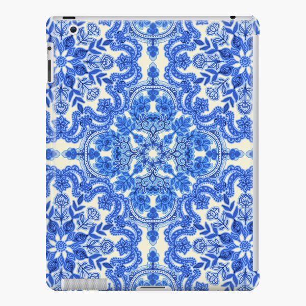 Cobalt Blue & China White Folk Art Pattern iPad Snap Case