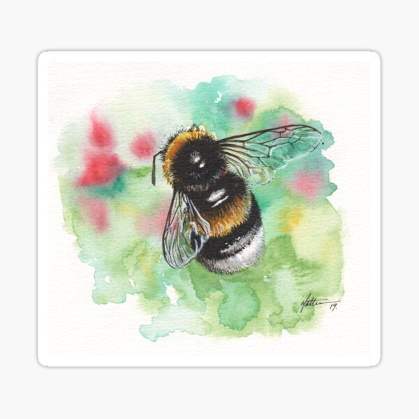 Bumblebee on Red & Green Sticker