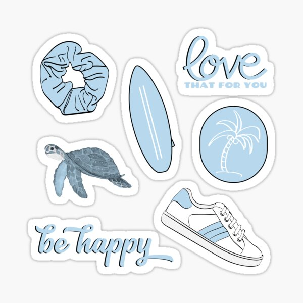 Light Blue Summer Beach Fun Sticker Pack Sticker