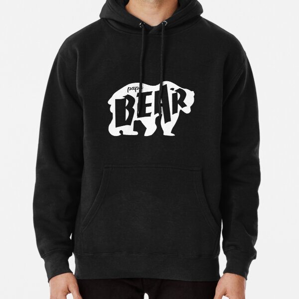 Papa Bear Fathers Day Grizzly Design for Awesome Dads White on Black  Pullover Hoodie