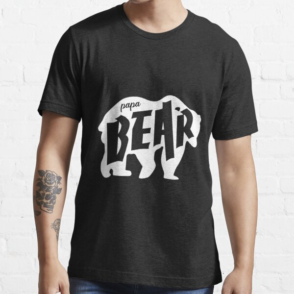 Papa Bear Fathers Day Grizzly Design for Awesome Dads White on Black  Essential T-Shirt