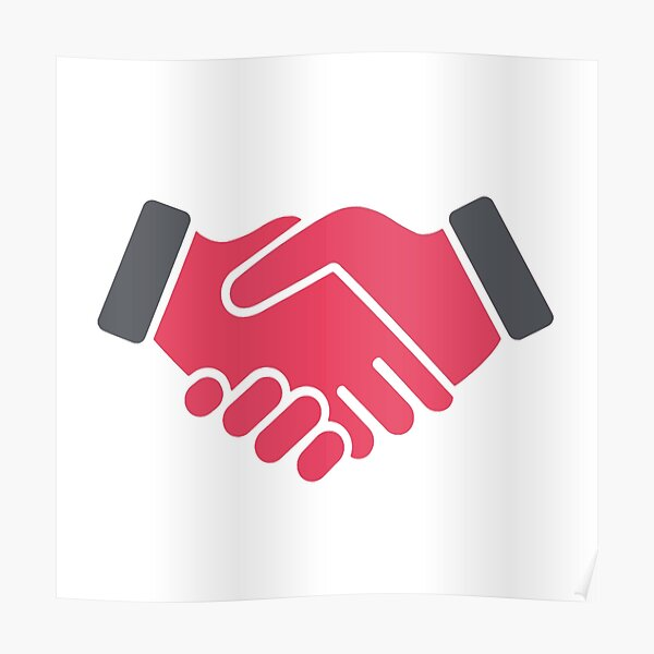 #Red #Handshake #Icon  Poster