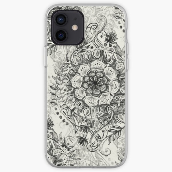 Messy Boho Floral in Charcoal and Cream  iPhone Soft Case